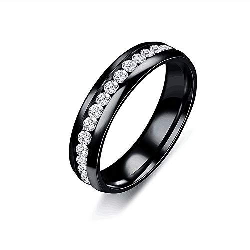 Sentai888 Edelstahl Ring Diamant Voller Diamanten Paar Ring Jubiläum Paar Engagement Fashion Classic Mutter Lady Love,Schwarz
