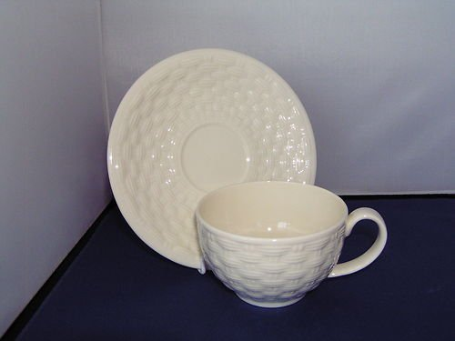 Aynsley China blanc tressé & Soucoupe tasse petit-déjeuner Aynsley Fine Bone China