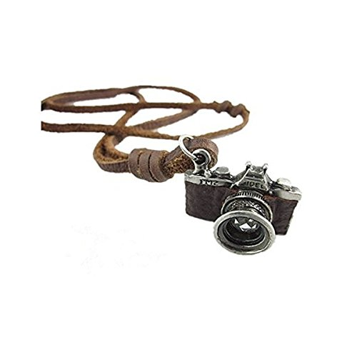 Original Tribe Brown de cuero real y de la aleación de la cámara colgante Adiustable Collar Mens Collar Unisex Collar fresco Necklac Pl0390