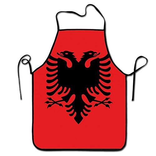 Jhonangel Fashion Black Border Küchenschürze-Flagge von Albanien-Verstellbarer Gurt Adult Bib Schürze für Frauen und Herren Restaurant & Küche Kochschürzen Premium Bib Overall