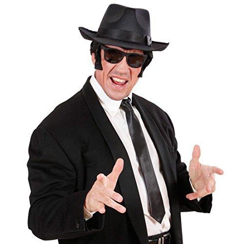 Schwarze Satin Krawatte Gangster Schlips Mafia Anzug Binder Fasching 20er Jahre Party Herrenkrawatte Al Capone Partykrawatte Blues Brothers Mottoparty Accessoires Karneval Kostüm Zubehör