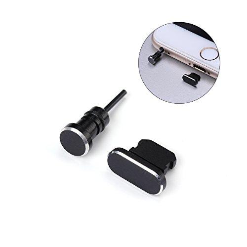 UKCOCO 2 Unids / set 3.5mm Jack de Auriculares Jack Anti Dust Plug y puerto de carga Plug para iPhone X / 8 Plus / 7 Plus / 7 / SE / 6 Plus / 6S / 6 / 5S / 5C / 5 / iPad (Negro)