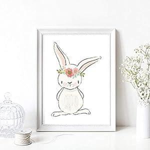 Kunstdruck Din A4 ungerahmt Kaninchen Hase Hasenmädchen Blumenkranz weiß rosa Aquarell Kinderzimmer, Geburt, Babyzimmer Druck, Poster, Bild
