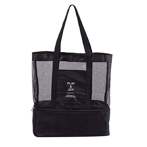 TOOGOO 2 in 1 Mesh Strandtasche Reissverschluss mit integrierter Kuehltasche, unsichtbare Isolierung Tasche Einkaufstasche Arbeit Urlaub Strand Park Picknick Grill Camping bis zu 8kg