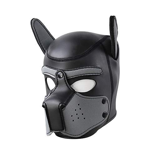 SM Schwamm Hund Kopf Leder Maske Paar Charakter Flirt Hut Maskerade Partei Prop Maske, Puppy Head Mask Kopfbedeckungen Rolle Spielen Tier Cosplay Neuheit Kostüm,blackgray,M