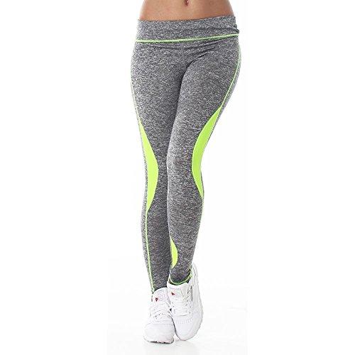 damen-fitnesshose-sporthose-leggings-grau-meliert-elastischer-bund-gummizug-workout-sport-yoga-farbl