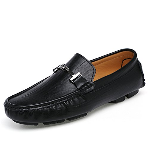 Miyoopark TN1597 Men's Snap Ring Black Leather Driving Casual Loafers Boat Shoes UK 11