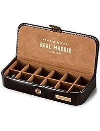 Real Madrid - Estuche de Gemelos Hecho a Mano con Piel de Calidad Premium. Caja para Accesorios tales como Pines, Sujeta Corbatas o Pequeñas Joyas. Ideal para Viaje. Color Marrón RMJ-80006B