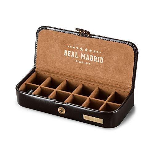 Real Madrid - Premium Qualität Leder Handgemachte Manschettenknöpfe . Box für Zubehör wie Pins, Krawattenbindungen oder kleine Juwelen. Ideal für Reisen. Farbe Braun RMJ-80006B
