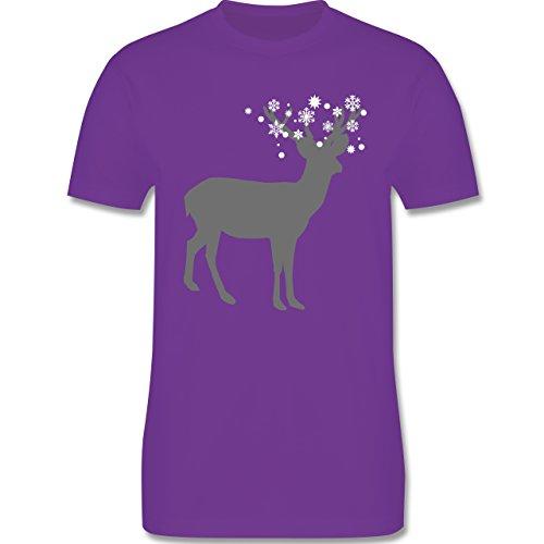 Weihnachten & Silvester - Rentier Schnee Eiskristalle - Herren Premium T-Shirt Lila