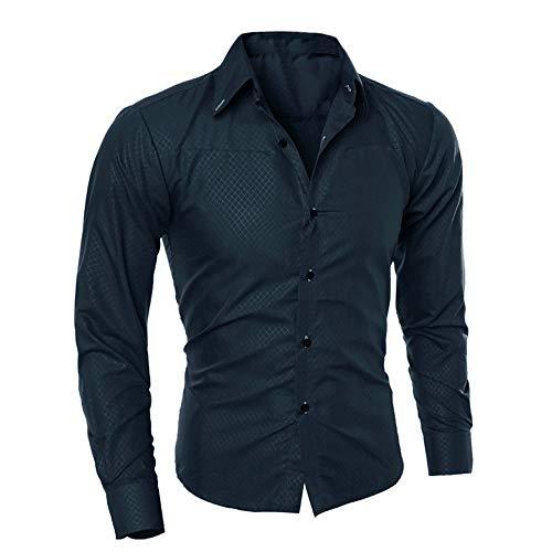 Herren Hemd Slim Fit Langarmshirt Freizeit Langarmhemd Bügelfreies Business Formale Anzug Party Hochzeit T Shirt Man Fashion Printed Bluse beiläufige Lange Hülsen-dünne Hemd