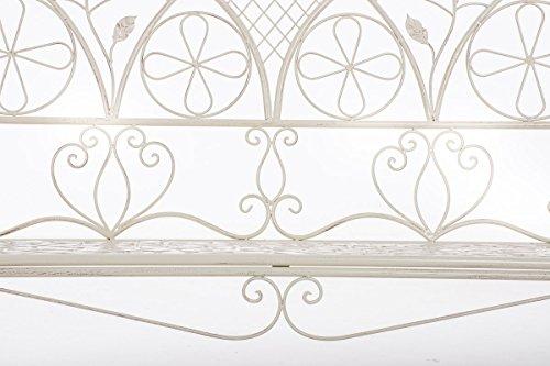CLP Metall-Gartenbank RIEF, Landhausstil, lackiertes Eisen, ca. 110 x 50 cm, Design nostalgisch antik Antik Creme - 6