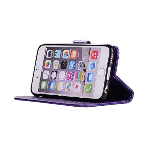 """IJIA Pur Embossage Noir Danseuse PU + TPU Doux Silicone Slot Magnetic Flip Cuir Portefeuille Dragonne ID Credit Card fonction Case Cover Coque Housse Etui pour Apple iPhone 6 Plus / 6S Plus 5.5"""" Purple"""