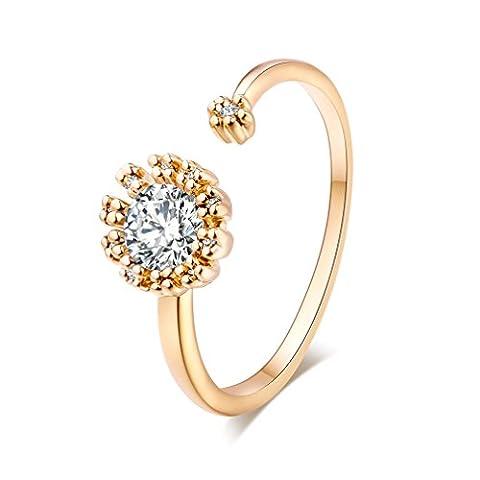 YAZILIND 18k anneau plaqué or de tournesol en zircon cubique