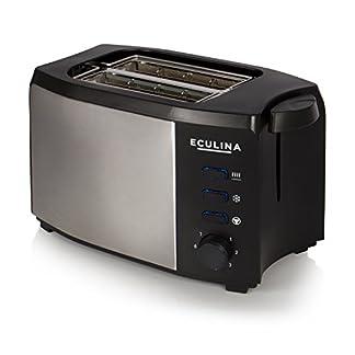 Eculina-Doppelschlitz-Toaster-in-Edelstahloptik-1000-W-inkl-Krmelschublade-automatischem-Auswurf-Auftau-Funktion-und-Brtchenaufsatz