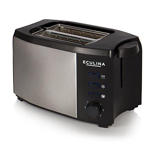 Eculina Doppelschlitz-Toaster in Edelstahloptik (1000 W) inkl. Krümelschublade, automatischem Auswurf, Auftau Funktion und Brötchenaufsatz