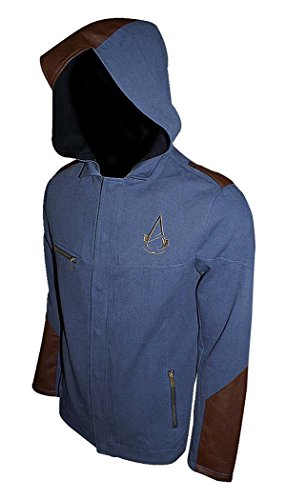 Assassins Creed Unity Denim Finish Premium Leichte Jacke Mit Angeschnittene Kapuze (Large, Blau)