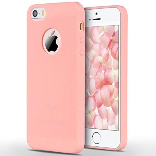 Coque iPhone 5 / 5S / SE, Yokata Solide Mat Anti-Fingerprint Case Housse Étui Soft Doux TPU Silicone Flexible Backcover Ultra Mince Coque - Rose