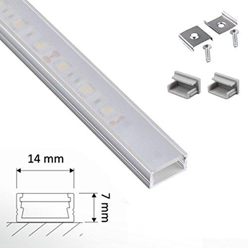 """1m ALU-Profil /""""SLIM/"""" mit klarer//durchsichtiger Abdeckung für LED-Streifen"""