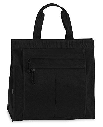 Einkaufstasche Shopper Tasche Umhängetasche Strandtasche Innenfach + 2 Außenfächer mit Reißverschluss - Schwarz -