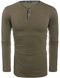 3be3577977a456 Coofandy Herren Langarmshirt Pullover Gestreifen Stripe Langarm Shirt  Henley-Kragen Sweatshirt für Männer