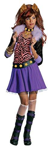 Monster High Clawdeen Wolf Werwolf Halloween Damenkostüm lila-pink-schwarz 128/140 (8-10 Jahre) (Clawdeen Wolf Mädchen Kostüme)