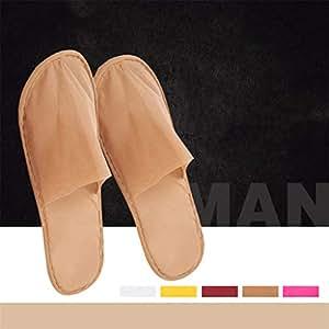 100 Paia Un Adulto Pantofole Spa, Non Tessuto Antiscivolo Per Spa, Festa Ospiti, Hotel E Pantofole Da Viaggio,Brown