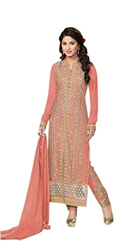 Active Women's Georgette Fabric Embroidered Salwar Suit (Free Size_Peach)