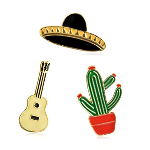 3PCS Women Girls Brooch Black Hat Golden Guitar Potting Cactus Enamel Lapel Pin Set