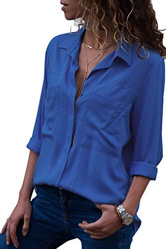 Aleumdr Damen Bluse V-Ausschnitt Langarm Casual Sommer Shirts Tunika Ubergrosse , Blau-1, L (EU 44/EU 46)