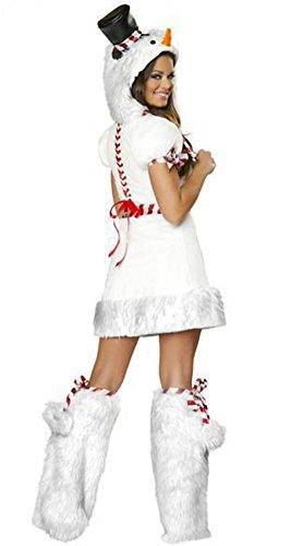 MissFox Femmes La Agréable Cosplay Vêtements Belle Bonhomme De Neige De Noël Blanc Blanc
