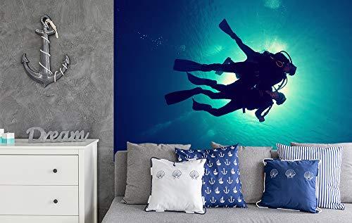 Bilderdepot24 Papier Peint intissé - Plongeurs dans la Mer Rouge - Vintage - 310x200 cm - pâte Inclus - Tableau Mural - Affiche Murale - Images murales