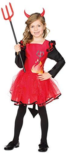Teufel-Kleid in Rot/Schwarz | Teufelin-Kostüm für Kinder für Karneval und Halloween (116) (Schwarzer Teufel Kostüm Zubehör)