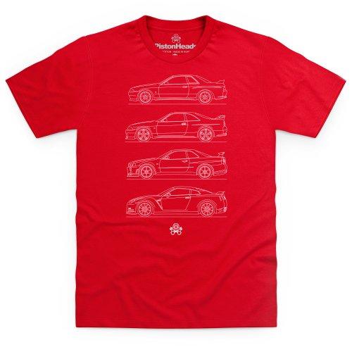 PistonHeads Skyline Generations T-Shirt, Herren Rot