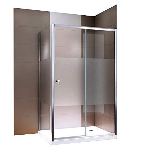 ebetür EX504-Kombi Milchglas Streifen NANO Rechts- oder Linkseinstieg Easy-Clean-Funktion Dusche mit Alu-Rahmen, Maße Duschkabine:120x90cm, Duschtasse:Ohne Duschtasse ()