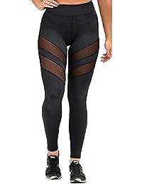 Azbro Mujer Moda Pantalones Leggings Deportivos Paneles de Malla Dri-Fit a Tobillo