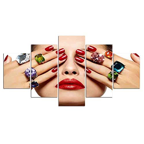 GIAOGE 5 Pezzi su Tela Dipinto Salone di Bellezza Bellissimo Occhio Labbro Trucco Nail Art Tela Parete Stampa Artistica e Poster opere d'Arte Decorazioni per la casa Immagine