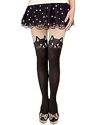 Demarkt Femmes Legging Collants Sexy Queue De Chat Gipsy Bonneterie Tatouage Leggings Collant Elastique Bas avec Dessin Tete de Chat dans le Haut