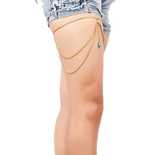 KnSam Donne Lega Cavigliera Bodychain Collana Coscia Bikini Costume Nappa Turchese Waterdrop Oro [Novità Cavigliera]