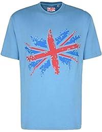 Mens Kam Jeanswear KBS5003 King Size Short Sleeve Union Jack Print T-Shirt Sky