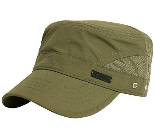 GAZHFERY Männer Hut Baseball Cap Schnell Trocknend Flat Top Hut Military Hat Visor Hut Im Freien Hut Sonnenhut,Green-OneSize (Green Patch Hut)