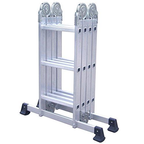 Aluminium Gelenkleiter 4x3 - flexibel einsetzbar als Stehleiter uund Anlegeleiter