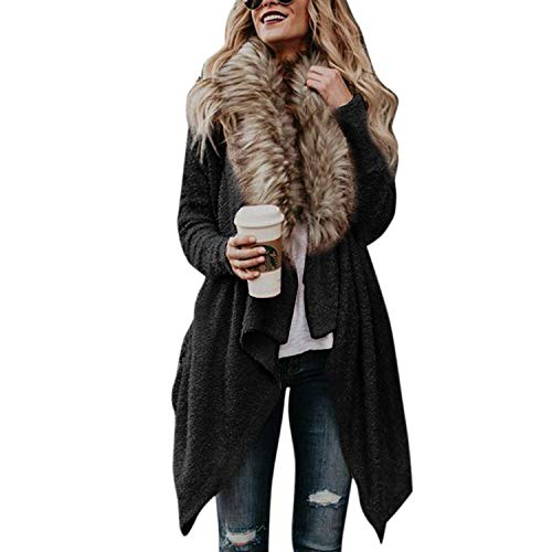 Petalum Damen Vintage Elegant Lang Strickjacke mit offenem V Ausschnitt Feinstrick Cardigan Fledermaus Ärmel Strickjacke mit Fell Pelzkragen Party Streetwear Wintermantel Warm Poncho
