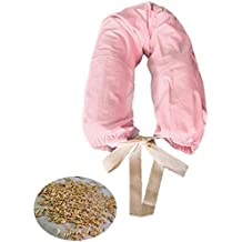 MORBIDOSO -Rosa- Cuscino per Allattamento Neonato e Sostegno Supporto Gravidanza con Pula di Farro, Completo di Lacci e Fodera in Cotone, 140 cm., Ideale anche nel Lettino come Barriera Paracolpi