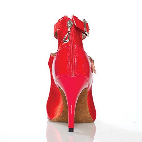 Ankle Strap Minitoo Damen, Satin, für Hochzeiten, Ballroom Latein Tanzschuhe Rot