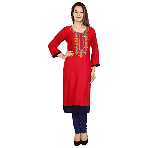 Attire4Fabric M&DR Women's White Embroidered Rayon Straight Kurti Red