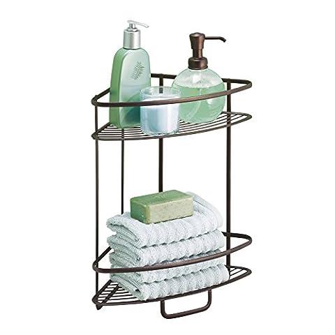 mDesign Étagères en coin auto-portantes de salle de bains ou douche, mDesign, pour serviettes, savon, shampoing, lotion, accessoires, savon - 2 compartiments,
