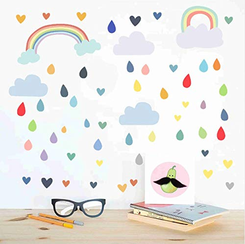 Abziehbilder Kinder Kinderzimmer Schlafzimmer Vinyl Wandaufkleber Moderne Home Decor abnehmbare Tapete Wand Kunst Wandbild Bunte Tropfen Regenbogen Wolke ()