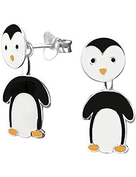Pinguin-Ohrringe, Sterlingsilber, 3D, Vorder- und Rückseite