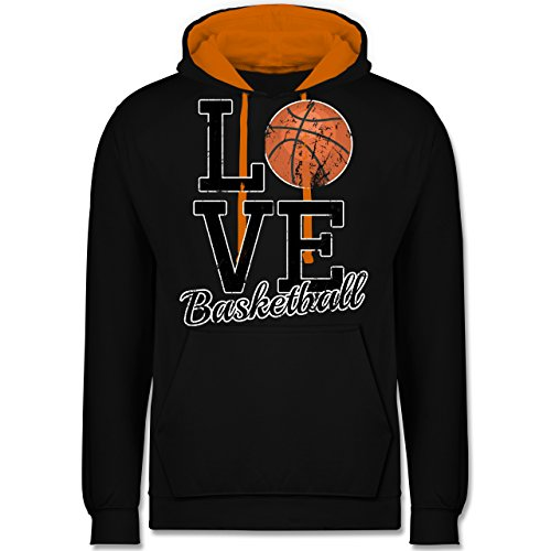 Basketball - Love Basketball - Kontrast Hoodie Schwarz/Orange